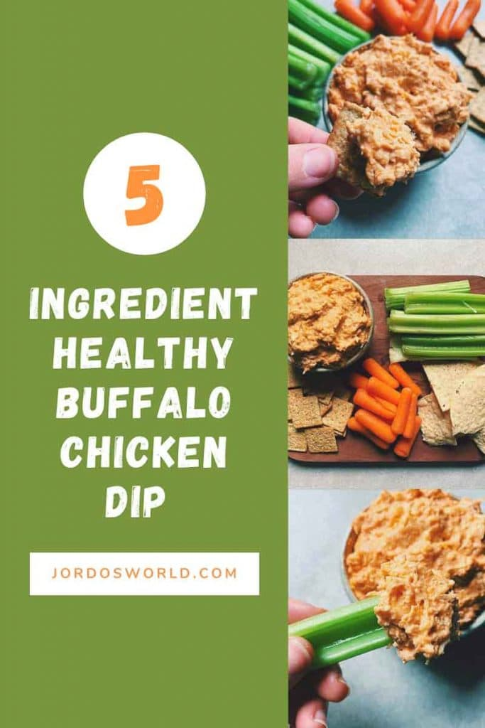 This is a pinterest picture for a healthier buffalo chicken dip recipe. There is a small green circle ceramic bowl filled with buffalo chicken dip. The dip is a light orange shredded chicken and cheese dip. There is a hand holding a wheat thin cracker with buffalo chicken dip on the end. The picture underneath that one has a platter with pieces of celery, carrots, and wheat thins around the bowl to be used for dipping. The third picture has a bowl of dip with a hand holding a piece of celery with dip on the end.