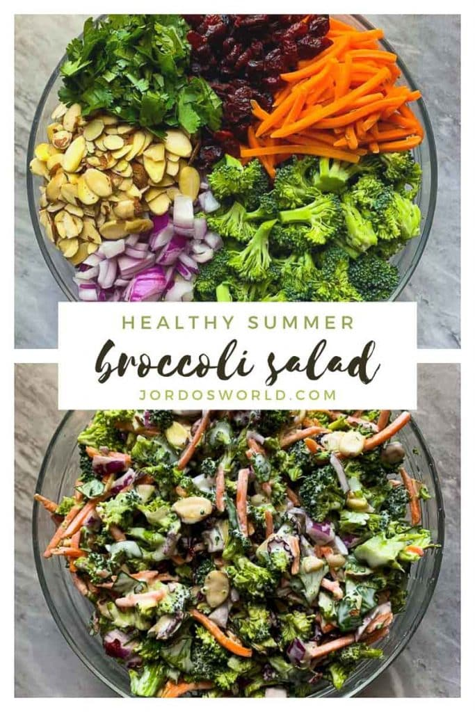 """This is a pinterest picture for a healthy summer broccoli salad recipe. There are two images in here. The first image has a large glass bowl filled with the ingredients for the salad recipe. There is broccoli, red onions, almonds, cilantro, dried cranberries, and shredded carrots in the large bowl in sections in a large circle. The second image has all of these ingredients mixed together in a bowl with white sauce. The title of the recipe, """"Healthy Summer Broccoli Salad"""" is in the middle of the picture."""