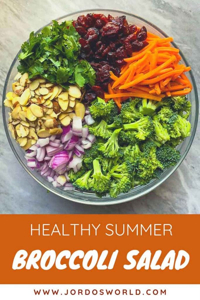 """This is a pinterest picture for a healthy summer broccoli salad recipe. There is a large glass bowl filled with the ingredients for the salad recipe. There is broccoli, red onions, almonds, cilantro, dried cranberries, and shredded carrots in the large bowl in sections in a large circle. The title of the recipe, """"Healthy Summer Broccoli Salad"""" is at the bottom of the picture."""
