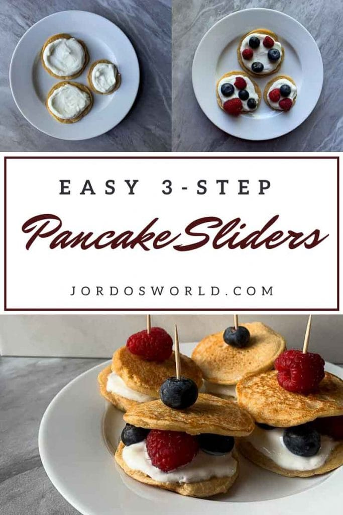 This is a pinterest picture for the berries and cream pancake sliders recipe. There is a small white plate that has four pancake sliders. The pancake sliders are pancake sandwiches made up of a layer of pancake, vanilla greek yogurt, and berries topped with another pancake. These are held together with a toothpick and a berry on top of that. There is also a picture with 3 pancakes topped with yogurt on a white plate, and another with the pancakes and yogurt topped with berries. These two pictures of pancakes with yogurt and berries are meant to show the process of making the sliders.