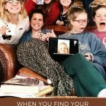 "Pinterest pin of a group of 7 ladies over decorative footer reading ""When you find your lifelong friends."" One individual is represented on a computer screen."