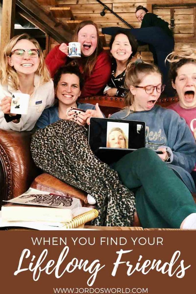 """Pinterest pin of a group of 7 ladies over decorative footer reading """"When you find your lifelong friends."""" One individual is represented on a computer screen."""