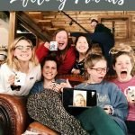 "Pinterest pin of a group of 7 ladies under decorative header reading ""When you find your lifelong friends."" One individual is represented on a computer screen."