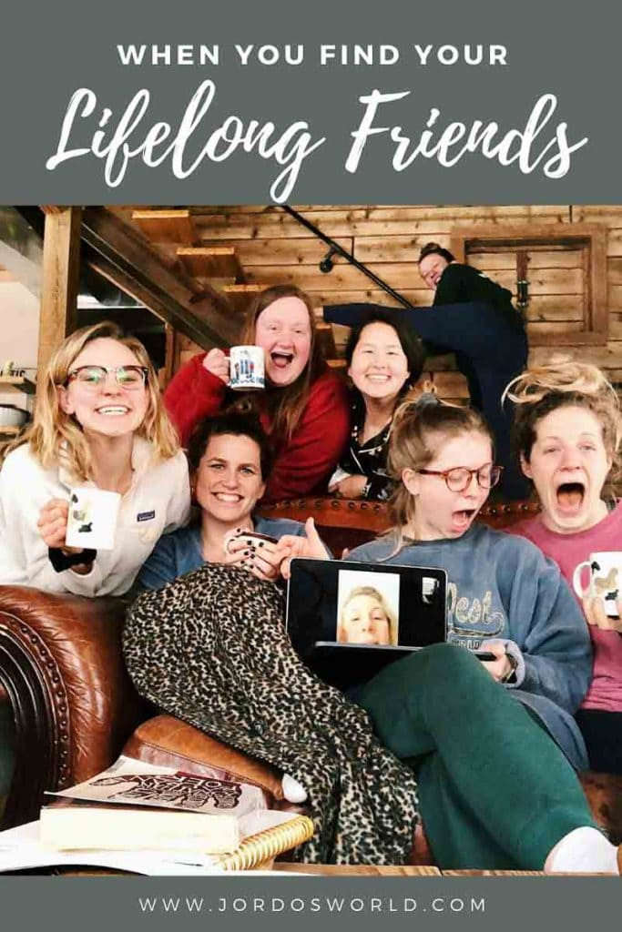 """Pinterest pin of a group of 7 ladies under decorative header reading """"When you find your lifelong friends."""" One individual is represented on a computer screen."""