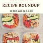 """Pinterest image featuring tupperware of meals prepped with mixed vegetables and chicken. Superimposed text reads """"easy and healthy recipe roundup"""""""
