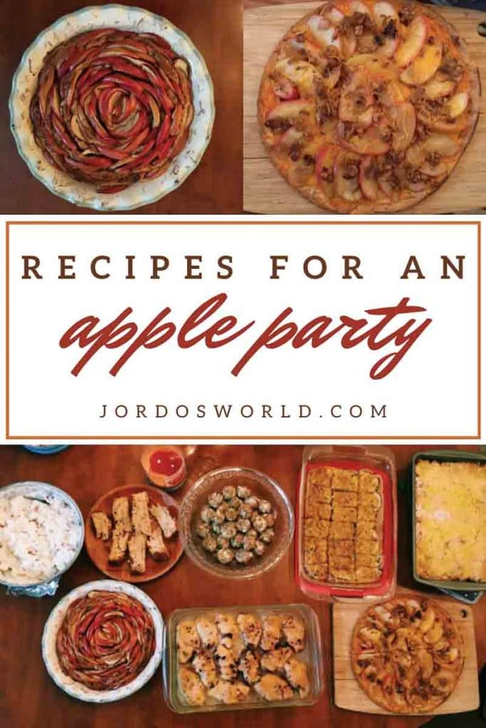 "This is a pin for the apple party post. There are several apple desserts and side dishes on a table. There are two smaller images of an apple pie and apple pizza at the top of the post.The title of the image, ""Recipes for an Apple Party"" is across the image."