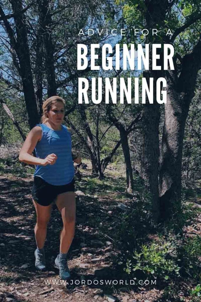 """This is a pin for my relationship with running post. There is a girl wearing black shorts and a blue tank top running through the woods. The title of the post, """"My Running Story"""" is in the middle of the image."""