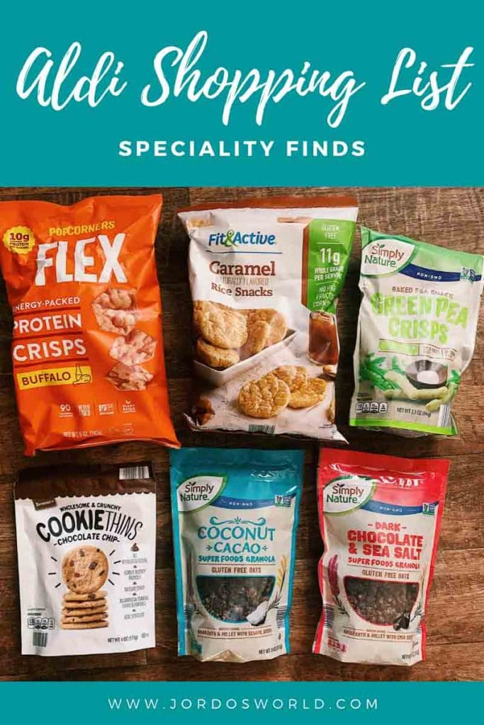 """This is a pin for the Trader Joe's Shopping List. There is an image of bags of cookies, granola, protein chips, rice cakes, and peas. The title of the post, """"Aldi Shopping List"""" across the top of the picture."""