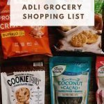 "This is a pin for the Aldi Shopping List. There are bags of cookies, granola, protein chips, and rice cakes. The title of the post, ""Aldi Grocery Shopping List"" is across the middle of the image."