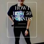 """This is a pin for the weight loss journey post. There is a girl in a navy blue t-shirt that she is holding bunched up to signify weight loss. The title of the post, """"My Weight Loss Journey"""" is across the image."""