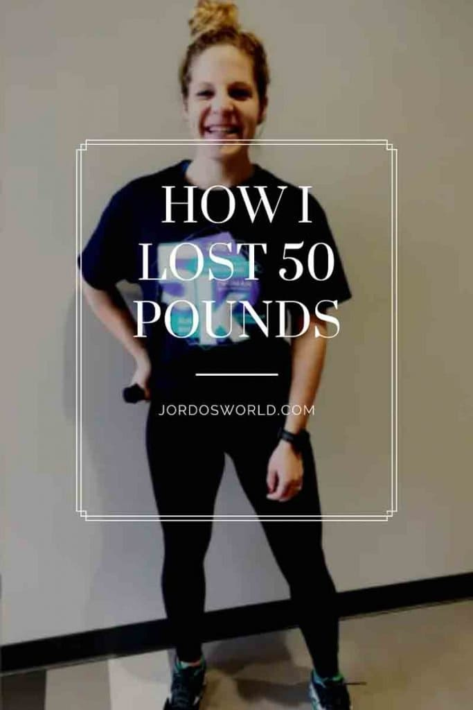 "This is a pin for the weight loss journey post. There is a girl in a navy blue t-shirt that she is holding bunched up to signify weight loss. The title of the post, ""My Weight Loss Journey"" is across the image."