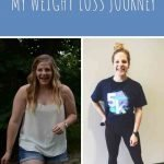 """This is a pin for the weight loss journey post. There are two images of the same girl, the one on the right weighs 50 pounds less than the girl on the left. The title of the post, """"My Weight Loss Journey"""" is across the top of the image."""