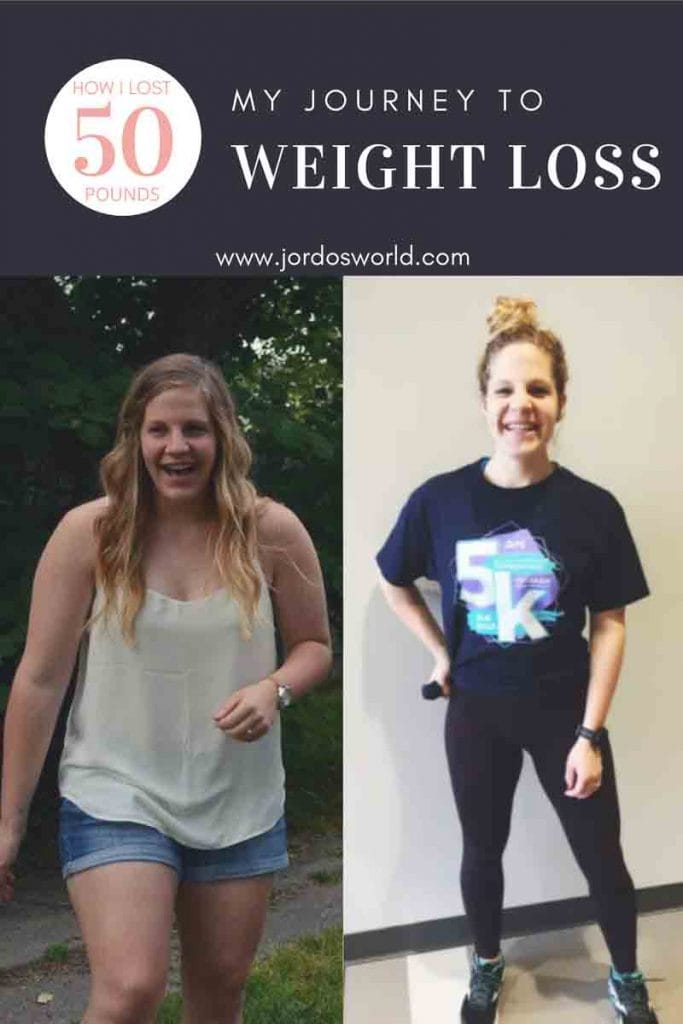 "This is a pin for the weight loss journey post. There are two images of the same girl, the one on the right weighs 50 pounds less than the girl on the left. The title of the post, ""My Weight Loss Journey"" is across the top of the image."