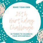 """This is a pin for the 25th birthday challenge. There are blue and pink dots and decorations on the win with the text, """"25th Birthday Challenge"""" in the middle of the pin."""