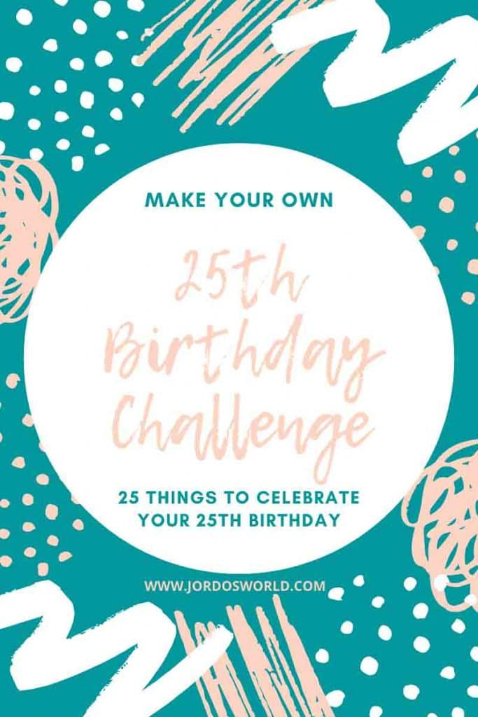 "This is a pin for the 25th birthday challenge. There are blue and pink dots and decorations on the win with the text, ""25th Birthday Challenge"" in the middle of the pin."