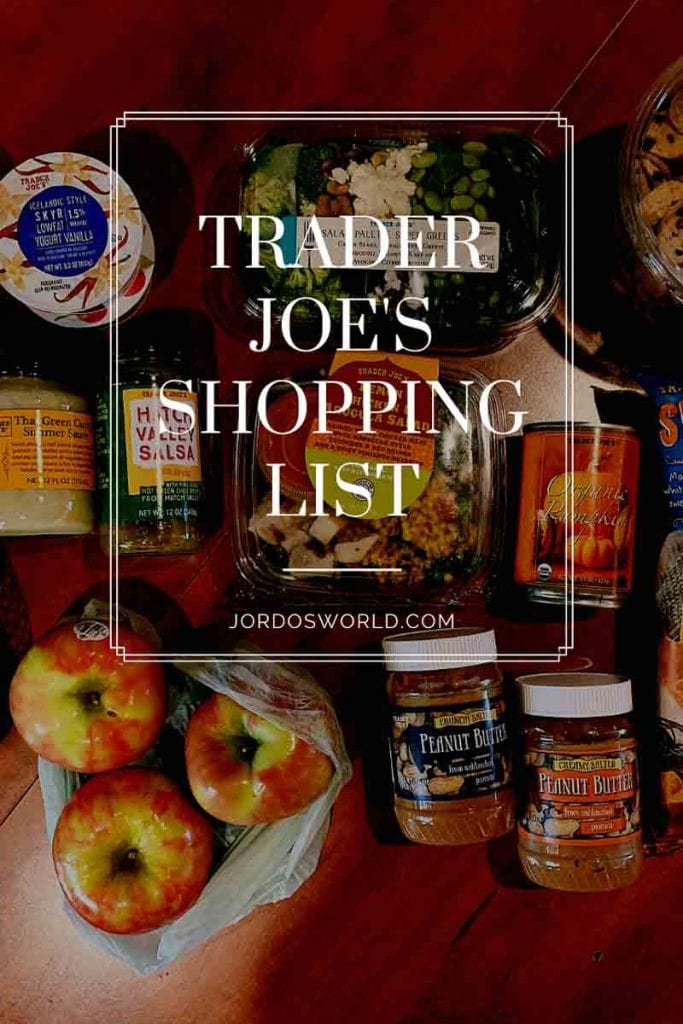 This is a pin for the Trader Joe's Shopping List. It has a bunch of produce and chips with the title of the pin at the top of the picture.