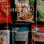 "This is a pin for sweet potato fries. There are bags of granola, cookies ,and chips with the title ""Aldi Shopping List"" across the picture."