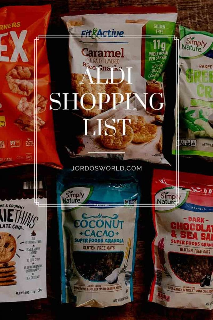 """This is a pin for sweet potato fries. There are bags of granola, cookies ,and chips with the title """"Aldi Shopping List"""" across the picture."""