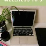 """This is a pin for the Quarantine Wellness Tips. It has a picture of a computer, plant, and planner with the title, """"Quarantine Wellness Tips"""" across the bottom of the image."""