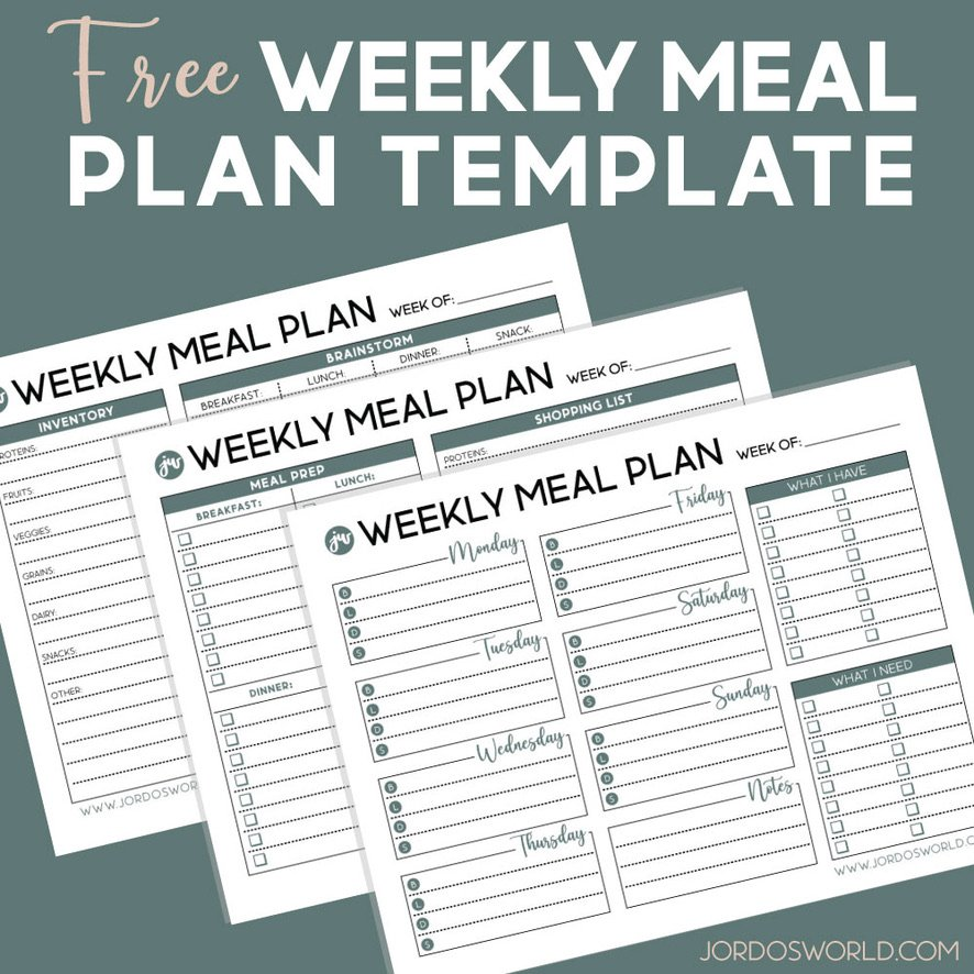 This is a pinterest pin for the weekly mean plan template. There is a sheet for the weekly meal plan resource on the pin. The title is also on the pin.