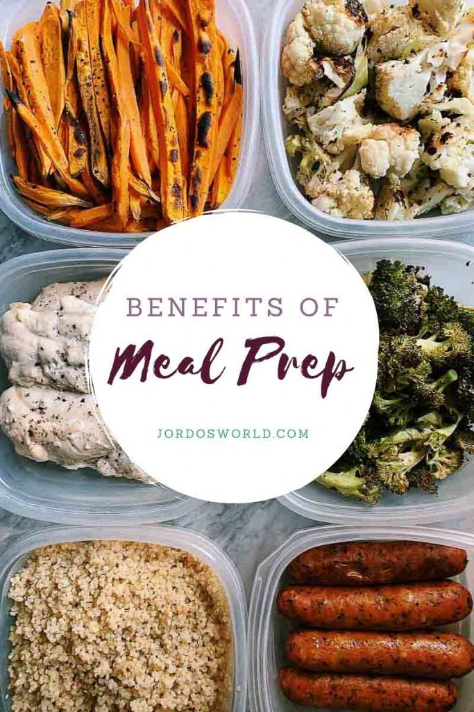 This is a pinterest pin for the benefits of meal prep. There is a week's worth of meals on the ground organized in containers of veggies and meats all prepped for the week.