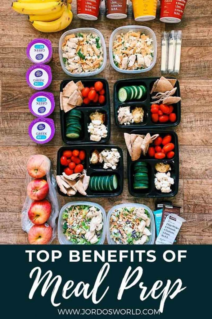 This is a pinterest pin for the benefits of meal prep. There is a week's worth of meals on the ground organized in containers of meals, snacks, and desserts.