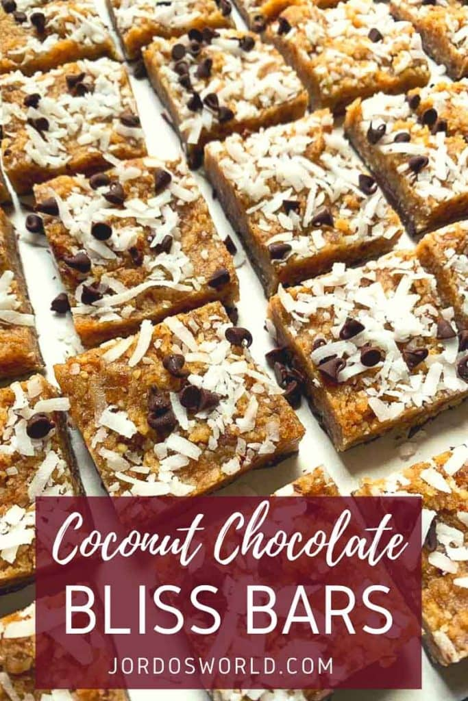 This is a pinterest pin for coconut chocolate chip bliss bars. The picture is full of square bars topped with coconut and chocolate chips. The title of the recipe is on the picture as well.