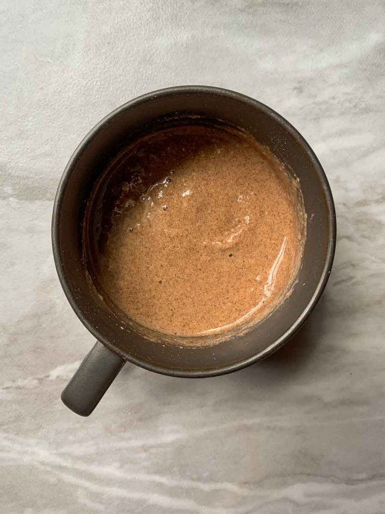 This is the mug with the batter in it. It is right before it will go into the microwave.
