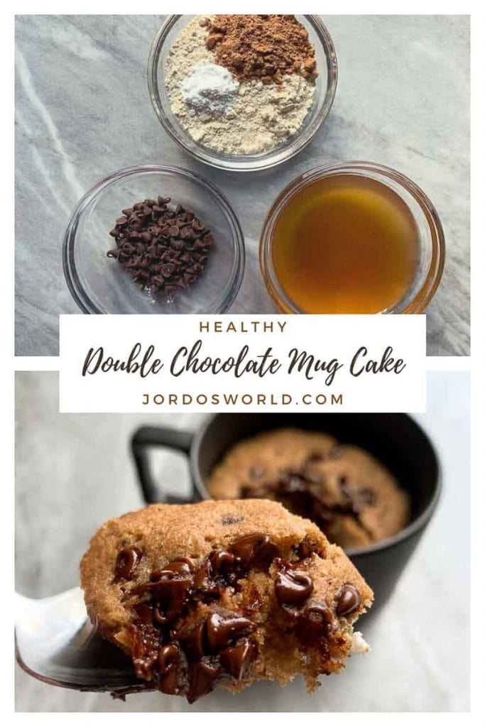 This is a pinterest pin for a healthy double chocolate mug cake. There is a picture of a mug cake topped with chocolate chips. There is also a spoon full of mug cake and chocolate chips being held up. The ingredients for the recipe are in the picture as well. The title of the recipe is also on the picture.