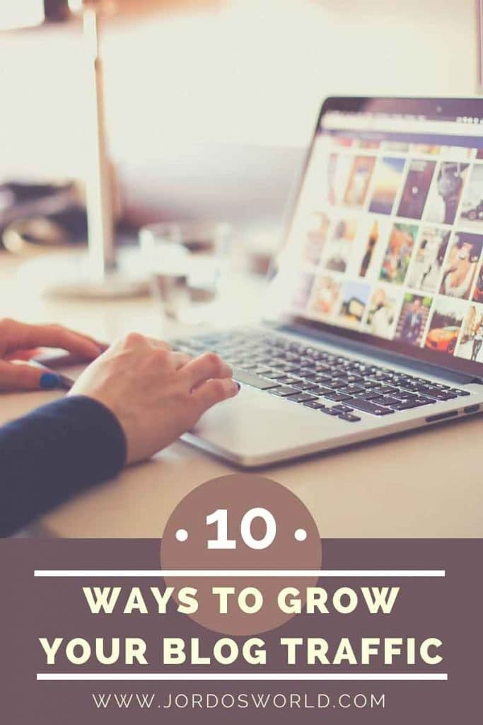 This is a pinterest pin for the blog post about how to grow your blog. There is a picture of a laptop with two hands typing. The title of the post is on the bottom of the pin.