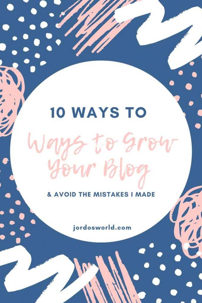 This is a pinterest pin for the blog post about how to grow your blog. There is a white circle with the title of the post and there are navy blue and light pink patterns in the background.
