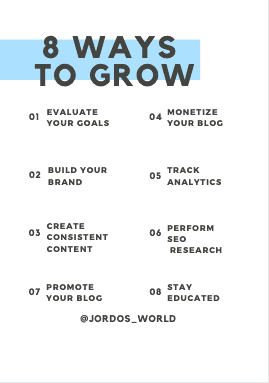 This is a pinterest pin for the blog post about how to grow your blog. There are several tips listed for increasing traffic to the blog.