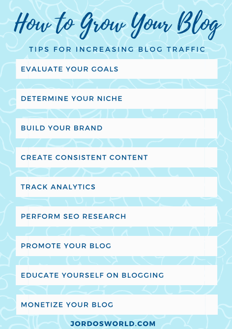 This is a pinterest pin for the blog post about how to grow your blog. There are several tips listed for increasing traffic to the blog. The pin is multiple shades of blue.