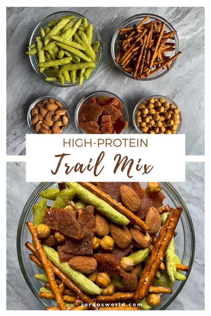 This is a pinterest pin for healthy, high-protein trail mix. On the top of the picture there is all of the ingredients for the recipe and on the bottom there is the final product. The trail mix has pretzel sticks, baked snap peas, crunchy chickpeas, almonds, and jerky.