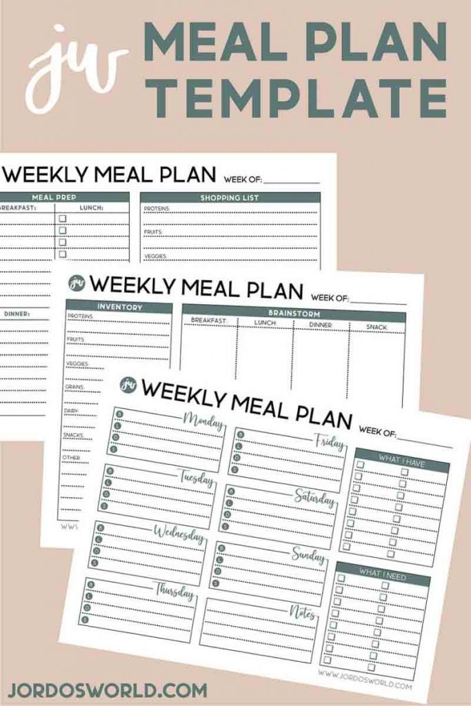 This is a pinterest pin for the weekly mean plan template. There is 3 sheets of weekly meal plan resources on the pin.