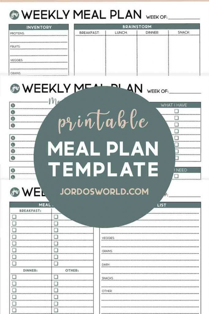 This is a pinterest pin for the weekly mean plan template. There is 3 sheets of weekly meal plan resources on the pin. The title is also on the pin.