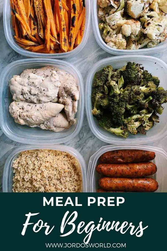 This is a pinterest pin for the meal prep for beginners post. There are 6 containers filled with meal prepped foods like veggies and chicken. The title of the post is on the bottom of the picture.