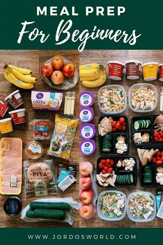 This is a pinterest pin for the meal prep for beginners post. There is a side-by-side picture on the back with foods not prepped and then foods prepped in containers. The title of the post is on the top of the picture.
