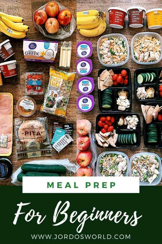 This is a pinterest pin for the meal prep for beginners post. There is a side-by-side picture on the back with foods not prepped and then foods prepped in containers. The title of the post is on the bottom of the picture.