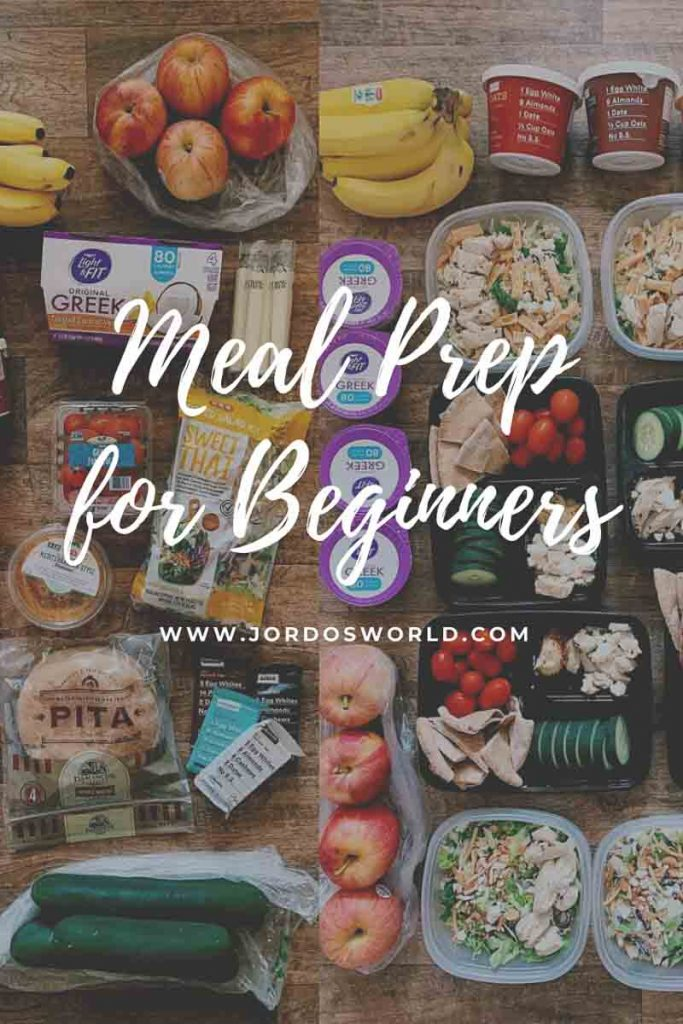 This is a pinterest pin for the meal prep for beginners post. There is a side-by-side picture on the back with foods not prepped and then foods prepped in containers. The title of the post is overlaying the meal prepped food.