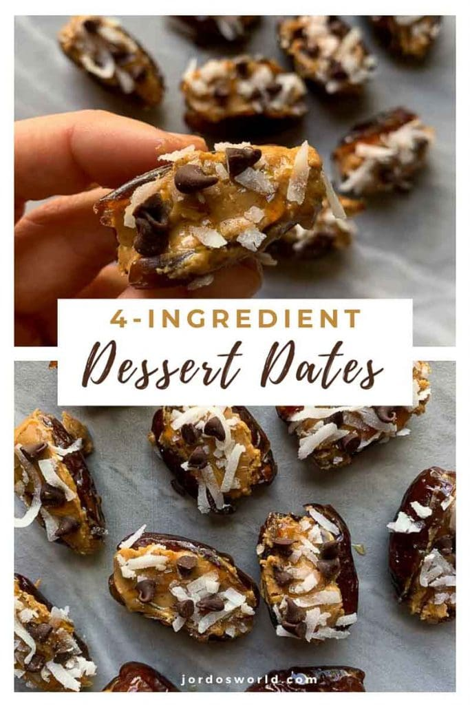 This is a pinterest pin for chocolate peanut butter stuffed dates. There are several dates spread out. Each one is sliced open, stuffed with peanut butter, and topped with coconut and mini chocolate chips. There is also a hand holding up one close.