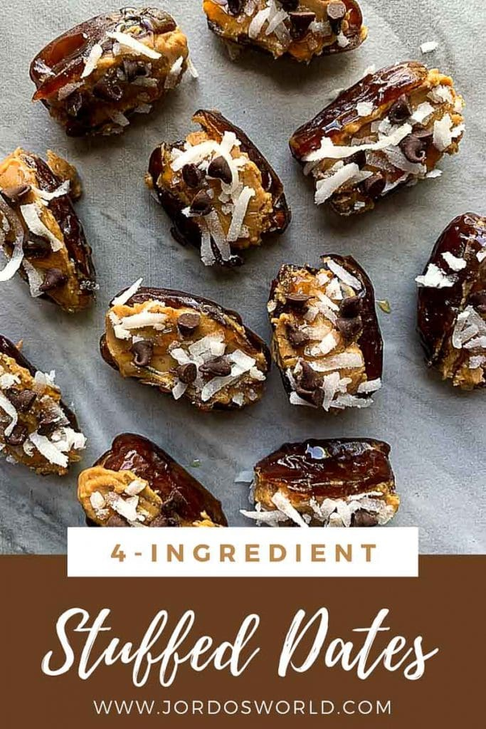 This is a pinterest pin for chocolate peanut butter stuffed dates. There are several dates spread out. Each one is sliced open, stuffed with peanut butter, and topped with coconut and mini chocolate chips.
