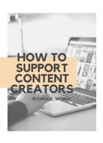 """This is a pinterest pin for the post about how to support content creators. There is a picture of a lap top screen with a hand on the keyboard. The title of the blog post """"Free Ways You Can Support Content Creators"""" is on the post."""