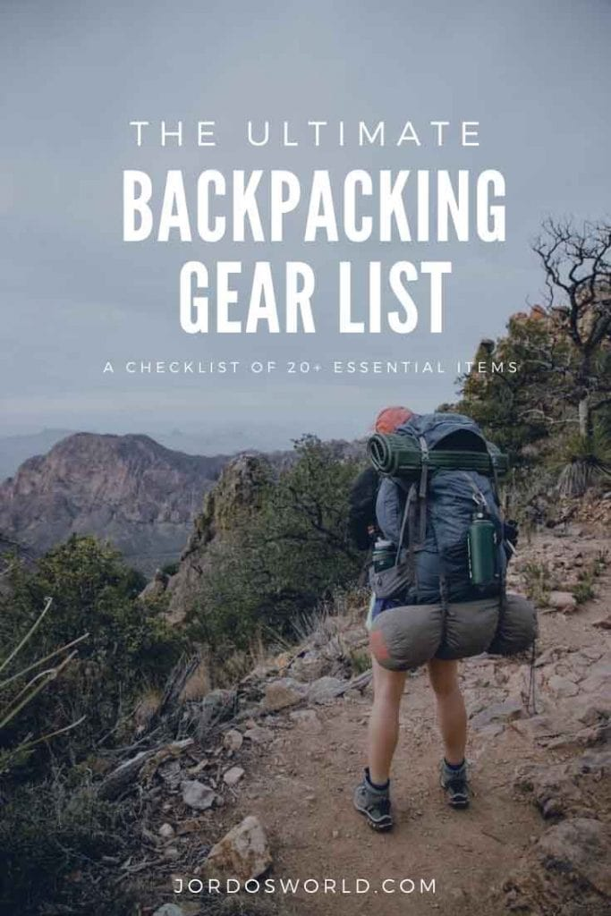 This is a pinterest pin for the backpacking gear list post. There's a girl standing with a backpack on looking at the mountains and the title of the post on the picture.