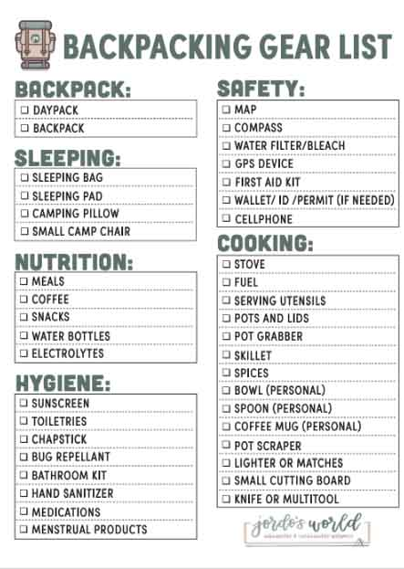 This is a pinterest pin for the backpacking gear list post. There's a big checklist with boxes for all of the gear to pack on your backpacking trip.