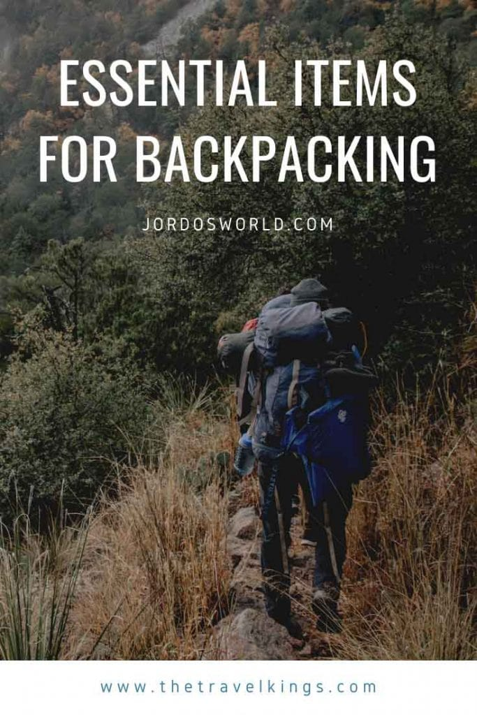 This is a pinterest pin for the backpacking gear list post. There's people hiking with big backpacks on and the title of the post on the picture.