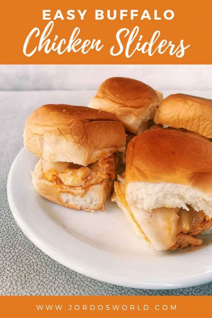 This is a pinterest pin for healthy buffalo sliders. This is a plate of four buffalo chicken sliders. There are little hawaiian rolls with sliced cheese and healthy buffalo chicken.