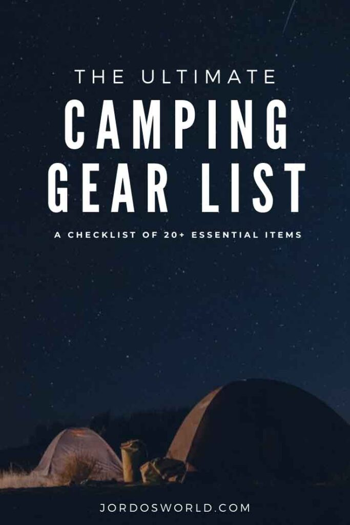 This is a pinterest pin for a camping gear list. There are two tents underneath a sky full of stars. The title of the post is also on the picture.