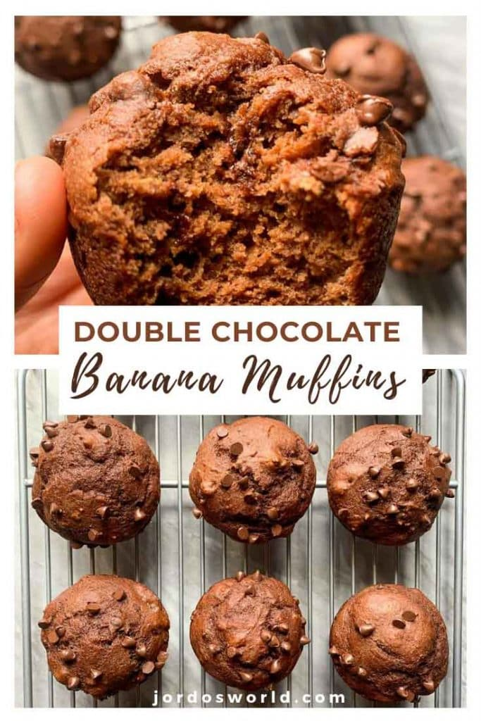 This is a pinterest pin for double chocolate muffins. There is a silver cooling rack topped with chocolate muffins with mini chocolate chips. There is also a hand holding up a muffin with a bite out of it.
