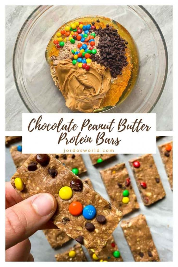 This is a pinterest pin for chocolate peanut butter protein bars. There is a pan filled with rectangle chocolate peanut butter bars topped with mini m&m's and mini chocolate chips. There is a hand holding up one of the bars as well. There is also a picture of all of the ingredients in a bowl.